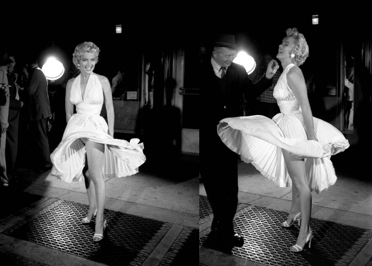 Фото Мэрилин Монро в белом платье над люком