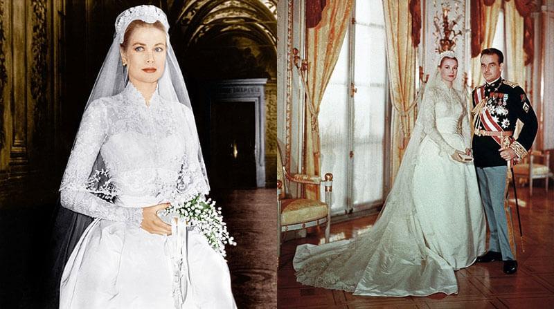 Фото Грейс Келли в свадебном платье на свадьбе с князем Монако Ренье III в 1956