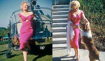 Фото Мэрилин Монро в розовом платье на вечеринке Рэя Энтони, 1952