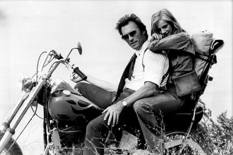 Клинт Иствуд - фото в молодости на мотоцикле, 1960-70-е