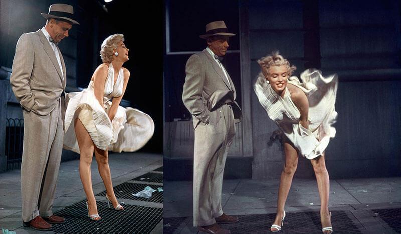 Как снималась знаменитая сцена Мэрилин Монро с улетающем платьем над вентиляционной шахтой в фильме «Зуд седьмого года» 1955 года