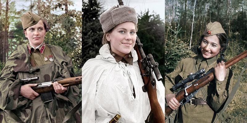 Советские женщины-снайперы времен Великой Отечественной войны