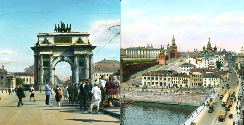 Цветные фотографии советской Москвы в 1930-х годах до войны